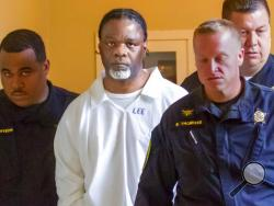 FILE - In this Tuesday, April 18, 2017 file photo, Ledell Lee appears in Pulaski County Circuit Court for a hearing in which lawyers argued to stop his execution which is scheduled for Thursday. (Benjamin Krain/The Arkansas Democrat-Gazette via AP, File)