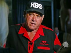 """FILE - In this June 13, 2016, file photo, Dennis Hof, owner of the Moonlite BunnyRanch, a legal brothel near Carson City, Nevada, is pictured during an interview in Oklahoma City. Hof, the owner of half a dozen legal brothels in Nevada and star of the HBO adult reality series """"Cathouse,"""" won a Republican primary for the state Legislature on Tuesday, June 12, 2018, ousting a three-term lawmaker. Hof defeated hospital executive James Oscarson. He'll face Democrat Lesia Romanov in November, and will be the fav"""