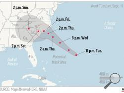 UPDATED WED 12 A.M. Map shows probable path of Hurricane Florence.