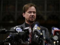 Former United Methodist pastor Frank Schaefer speaks during a news conference, Thursday, Dec. 19, 2013, at First United Methodist Church of Germantown in Philadelphia. United Methodist church officials have defrocked Schaefer, who officiated his son's gay wedding in Massachusetts. (AP Photo/Matt Rourke)