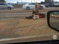 In this July 1, 2014 image made from video provided by motorist David Diaz, a California Highway Patrol officer straddles a woman while punching her in the head on the shoulder of a Los Angeles freeway. The woman had been walking on Interstate 10 west of downtown Los Angeles, endangering herself and people in traffic, and the officer was trying to restrain her, according to a CHP assistant chief. The officer, who has not been identified, has been placed on administrative leave during an investigation. (AP)