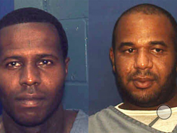 This undated photo made available by the Florida Department of Corrections shows Charles Walker, left, and Joseph Jenkins. Walker and Jenkins were mistakenly released from prison in Franklin County, Fla., in late September and early October. According to authorities, the the two convicted murderers were released with forged documents. A manhunt is under way for the two men. (AP Photo/Florida Dept. of Corrections,HO)