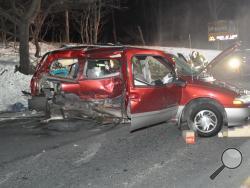 A Nissan Quest was badly damaged in a Saturday night accident near Elysburg. (Press Enterprise/Harry Deitz)