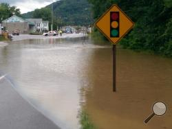 A water main shut down a section of Route 11 between Danville and Mahoning Township Monday. (Press Enterprise/Jimmy May)