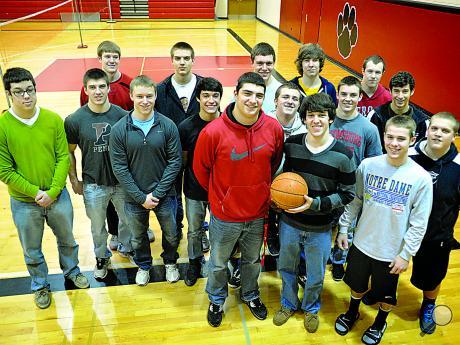 Members of the bloomsburg high school boys basketball team