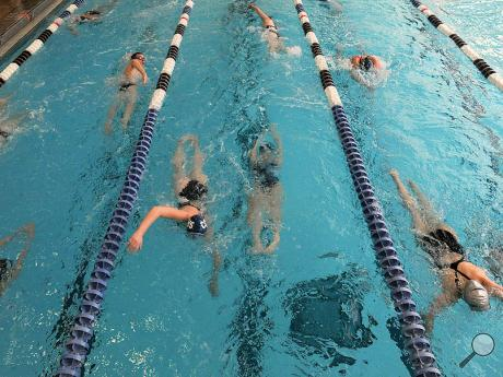 Members of Central Columbia's boys and girls swim teams do laps while warming up in the pool before the start of Tuesday afternoon's meet against Danville at Danville.
