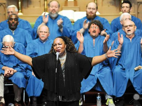 Lea Gilmore opens the gospel music afternoon at the Wesley United Methodist Church in Bloomsburg Sunday. Gilmore was the closing program for this year's Destination Blues Music Festival.