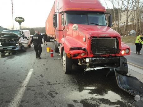A woman was sent to Geisinger Medical Center after she pulled a cargo van into the path of a tractor trailer along Route 54 near Perkins Family Restaurant.