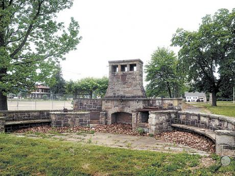 The large and elaborate outdoor fireplace and grill that stood next to the now-demolished Harry Magee mansion now stands alone, on Tuesday,  just outside the Bloomsburg Fairgrounds.