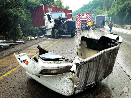 The hood of this tractor trailer was ripped from the rig during an accident in the West bound lane of Interstate 80 in Luzerne County Tuesday.