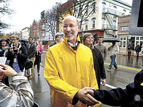 Democratic candidate for Governor of Pennsylvania Tom Wolf greets supporters during a stop in Bloomsburg on Wednesday afternoon.