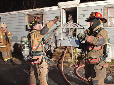 Firefighters bring a guineapig out of the trailer at lot 14 of the Perry Avenue trailer court in Montour Township after putting out a fire in the trailer home Tuesday night.