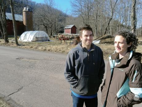 Chris McCallum and Jill Lashmettstand on Covered Bridge Drive in Hemlock Township next to their farm. It's where the proposed natural gas pipeline will cross their property. They are organizing a pipeline-opposition rally on their land Saturday, March 4.