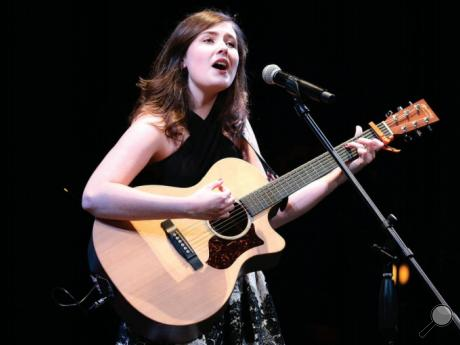"Maiah Farley, a Central Columbia sophomore, sings Christina Aguilera's ""Beautiful"" to the crowd during the First Columbia Teen Star's seventh annual talent competition in Haas Auditorium at Bloomsburg University. Farley was named the 2017 Teen Star on Sunday afternoon."