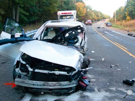 A Subaru Impreza sustained heavy front-end and passenger-side damage in a crash on MidValley Road in Conyngham Township Thursday afternoon. The crash was a mile from Route 42 at Aristes.