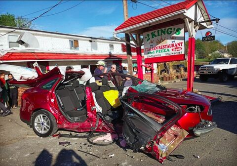 A car and an SUV collided in front of 2 Kings Italian Restaurantalong Route 487 about 5:30 p.m. Saturday, injuring five people, including two who were airlifted to Geisinger Medical Center.