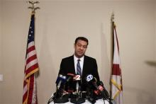 Congressman Trey Radel addresses the media at his office in Cape Coral on Wednesday night Nov. 20, 2013. Earlier on Wednesday, Radel plead guilty to misdemeanor cocaine possession, receiving a 1-year probation sentence. (AP Photo/Naples Daily News, Scott McIntyre)