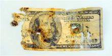 "This is one of the five $100 bills eaten by Wayne Klinkel's golden retriever while he and his wife were on a road trip. The Montana man washed the remnants of the bills he found in the dog's scat and sent them to a Treasury Department bureau with an explanation of what happened. The bureau's website says an ""experienced mutilated currency examiner"" will determine if at least 51 percent of a bill is present and eligible for reimbursement. (AP Photo/The Independent Record, Eliza Wiley)"