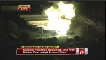 This frame grab provided by WKMG TV shows the fire at the Blue Rhino plant in Tavares City, Fla Tuesday July 30, 2013. A series of major explosions at a Florida gas plant has injured several workers and left others missing. The Orlando Sentinel reported Monday night July 29, 2013, that Tavares City Administrator John Drury said 10 of 24 people working at Blue Rhino, a propane gas plant, have not been accounted for after the blasts. Lake County Sheriff Gary Borders says the blasts occurred inside the plant a