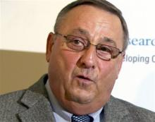 Maine Gov. Paul LePage used a sexually vulgar phrase Thursday, June 20, 2013, to describe how Democrat state Sen. Troy Jackson is taking advantage of the people. LePage's comment came as he has said he intends to veto a two-year budget because it includes tax increases. (AP Photo/Robert F. Bukaty, File)
