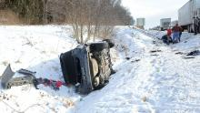 A Chevy Malibu came to rest on its side after flipping along Interstate 80 near Lightstreet in the westbound lane Wednesday morning around 9:15. The woman driving driver of the vehicle was thrown from the car during the accident.