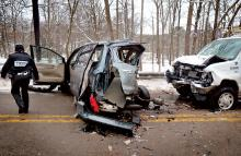 Two young girls were killed when this minivan slid sideways on Route 487 and crossed into the oncoming lane in front of an approaching work van, officials say.