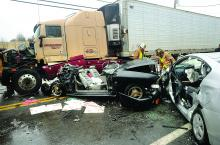 Several people were injured in a four-vehicle crash involving a tractor-trailer on Route 54 north of Elysburg Monday afternoon.
