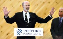 Gov. Tom Wolf speaks to a crowd in the Arts and Crafts building of the Bloomsburg Fairgrounds on Thursday. (Press Enterprise/Keith Haupt)
