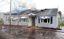 The Village Inn, after a fire hit it this morning. (Press Enterprise/Bill Hughes)