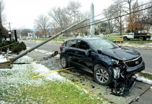 J. David Heinly, 78, struck a utility pole on Bloom Road in Danville Tuesday afternoon in front of the Grove Presbyterian Church. Heinly, of the Selinsgrove area, was taken to the hospital by ambulance.