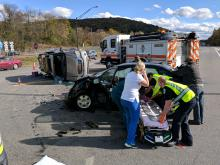Medics work at an accident Tuesday afternoon near the intersection of routes 54 and 642. (Press Enterprise/Jimmy May)