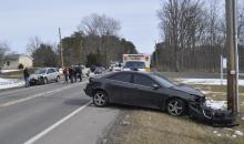 A chain-reaction crash sent one person to a hospital and damaged three vehicles Friday morning along Route 487 in the area of the Masonic Lodge. (For the Press Enterprise/Harry Deitz)