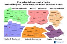 The state provided this map of where permits have been awarded for medical marijuana grower/processors.