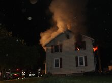 Reliance Fire Co./Special to the Press Enterprise Fire gutted the second floor of this house at 136 Foundryville Road early Tuesday morning. Firefighters say two family dogs died, but no people were injured. A resident of the home is accused of repeatedly calling in false alarms this year.
