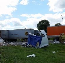 Two tractor trailers collided on Interstate 80 Thursday. (Julye Wemple/Press Enterprise)