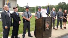 Authorities in Northumberland County are offering a $10,000 reward for information leading to the arrest of a suspected rapist. Appearing at Wednesday's press conference from left to right: PSP Cpl. Todd Brininger; Northumberland County D.A. Tony Matulewicz; PSP Lt. Sherman Schadle; Tpr. Rick Blair; Tpr. Maxwell Andres; Tpr. Joel Follmer; and Kira Lemons from PA Crime Stoppers.