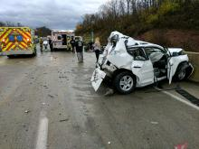 A Toyota Rav4 was wrecked in a crash on I-80 west Wednesday afternoon. (Press Enterprise/Jimmy May)