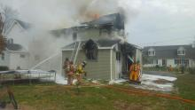 Firefighters battle a blaze at 320 Fifth St., Benton, on Wednesday. (Press Enterprise/Keith Haupt)