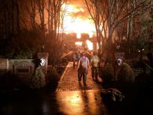 A fire blazes at 1094 Charlene Drive on Friday night. (Press Enterprise/Jimmy May)