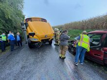 A Danville Area Schools bus carrying 14 middle school students was hit head-on by a van on Rhodes HillRoad in Derry Township this afternoon