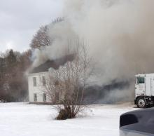 Fire fighters are battling a blaze at this 337 Martzville Road home.