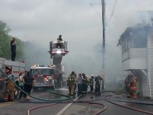 Firefighters battle a blaze in Mocanaqua on Thursday morning. (Press Enterprise/Julye Wemple)