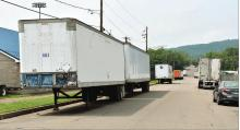 Press Enterprise/Jimmy May Seven trailers from tractor trailers are parked along Mulberry Street near Crispin Field in Berwick recently. Berwick council passed an ordinance banning large vehicles from parking on most of the borough's streets.
