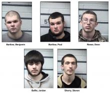 The group of five charged with shooting a high-powered pellet gun into an occupied house. (Columbia County Prison)