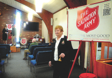 FILE - Marqueen Naugle rings her bell next to a Salvation Army Kettle during the Kettle Kick-Off in Berwick in November. (File Photo, Press Enterprise/Bill Hughes)
