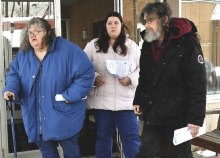 From left, Michelle Starkey, Amanda Dancho and John Dancho leave District Judge Matthew Christopher's office after being arraigned on 130 counts each in an animal cruelty case regarding dogs they bred. (Press Enterprise/Jimmy May)