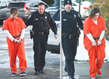 Robert A. Johnson Jr., left, is led into District Judge Russell Lawton's office Wednesday by Bloomsburg Police Officer Brad Sharrow. At right, Officer Ken Auchter leads Amber Hornberger into Lawton's office.