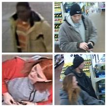 Police say the man (top left) and woman (bottom left) pictured here stole bedding from the Buckhorn Walmart, while the others are suspected in a separate theft from the store.